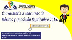 Convocatoria a Concurso de Méritos y Oposición Septiembre 2015